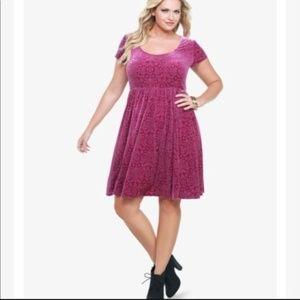 Torrid Pink Velvet Burn Out Fit & Flare Dress Sz 3